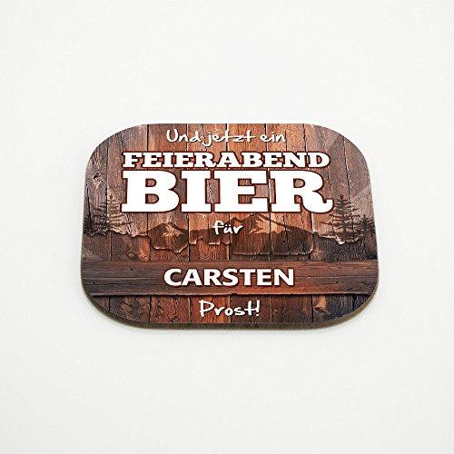 Untersetzer mit Namen Carsten und schönem Feierabendbier-Motiv