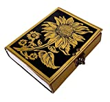vintage sunflower leather journal Writing notebook embossed beautiful daily use book of shadows blank yellow with black unlined travel sketchbook with lock diary gift for women 7x5 inch