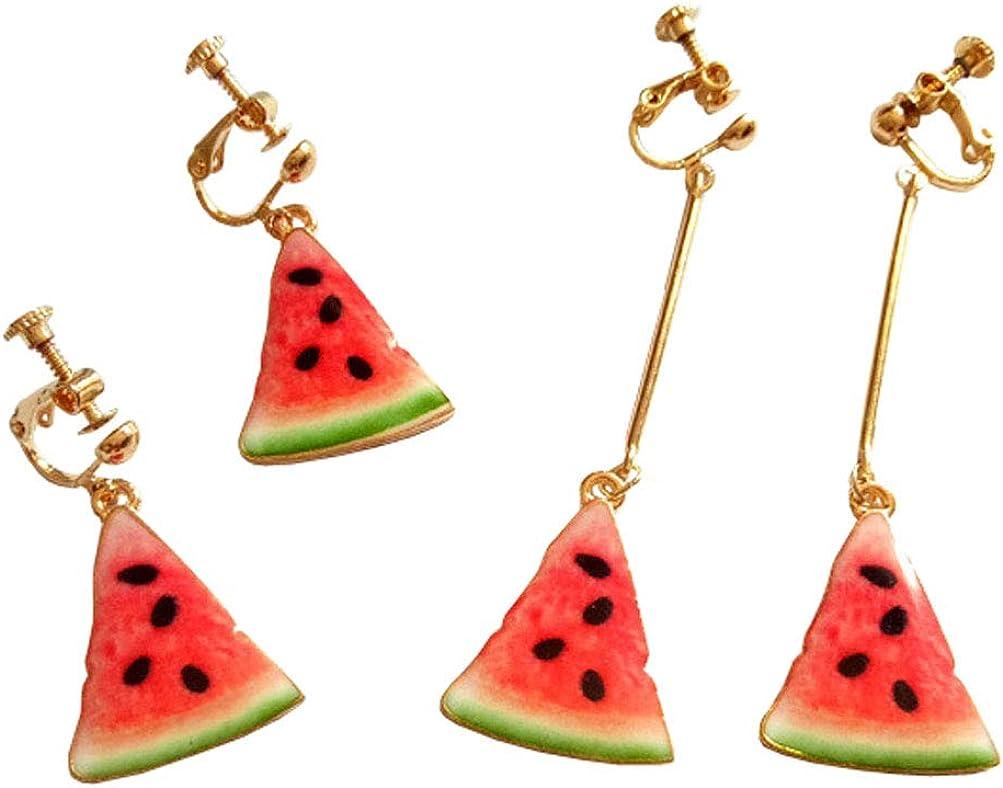 Classic Enamel Clip on Earrings Set for Girl Women Chic Watermelon Slice Dangle Fruit Cut Drop