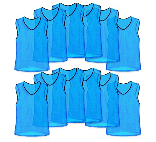 Unlimited Potential Nylon Mesh Scrimmage Team Practice Vests Pinnies Jerseys for Children Youth Sports Basketball, Soccer, Football, Volleyball (12 Pack, Sky Blue, Youth)