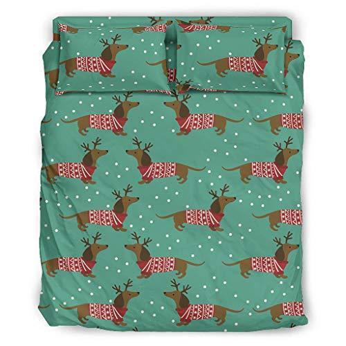 Xuanwuyi 4-teiliges Bettwäscheset mit weihnachtlichem Dackel, knitter- und lichtbeständig, ultraweich, luxuriös, leicht, für alle Jahreszeiten, für Zuhause, weiß, 228 x 264 cm