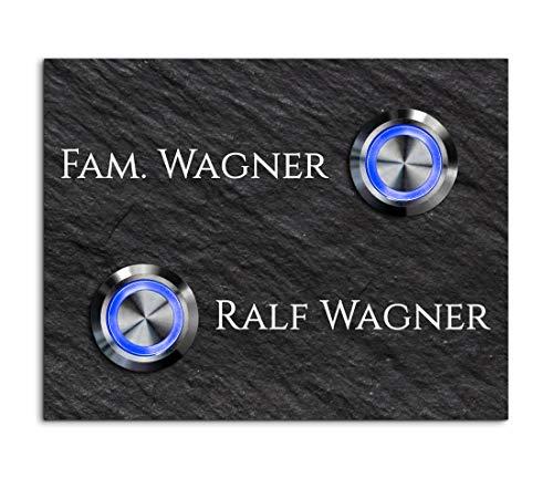 Türklingel Schiefer 2 Fach Doppel Klingel mit Gravur freier Motivauswahl und 2 LED Taster Klingelplatte Türklingel mit Namen Modell: Wagner-sch | 9x7 cm