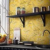 Papier peint intissé jaune motif naturel Van Gogh fleur d'amande - Structure 3D vintage - Pour chambre à coucher, cuisine, salon - Avec colle à papier peint non tissé