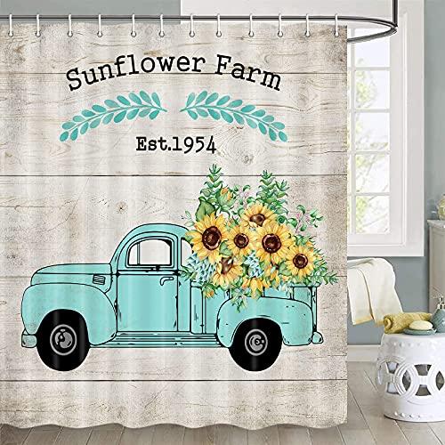 Sonnenblumen-Duschvorhang, gelbe Sonnenblume auf blaugrünem LKW mit 'Sonnenblumenfarm' auf rustikalem Holzduschvorhang, Landhaus-Duschvorhang, Badezimmer-Set, Stoff-Duschvorhanghaken, 177,8 cm