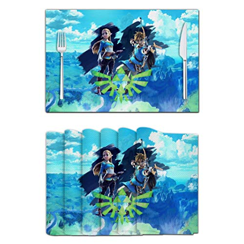 Princess Breath Wild Link Washable Dining Table Mats Heat Insulation Plate Pad Kitchen Placemats Set 1/4/6