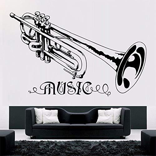 yaonuli Trompete muziek muursticker afneembare muziekstijl concert decoratie vinyl wanddecoratie