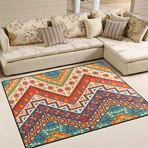 Use7 Vintage Aztekenmuster Ethnic Chevron Teppich Teppich Teppich Teppich für Wohnzimmer Schlafzimmer, Textil, Multi, 203cm x 147.3cm(7 x 5 feet)