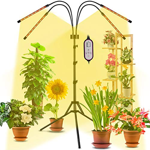 Grow Light with Stand, Gooseneck 4-Head Floor Grow Lights for Indoor Small & Tall Plants, Full Spectrum LED Grow Lamp with Timing 4/8/12H, 9 Dimmable Levels and Auto ON/Off, Adjustable 25'-63' Tripod