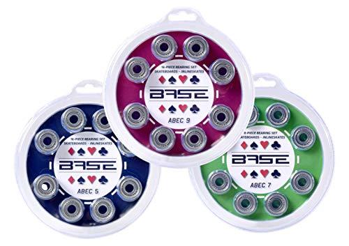 Base - 16 er Set Kugellager Bearings inkl. Blister-Verpackung I einfache Montage I ABEC 5-9 wählbarI Kugellager für Inliner & Rollerblades I Standard-Kugellager 608Zz I farblos, ABEC 7, 71001