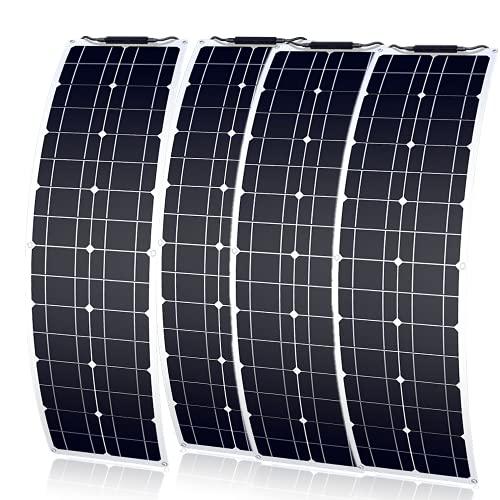 Pannello solare flessibile 200 W 12 V monocristallino caricatore solare impermeabile e ultra sottile per camper, barche, abitazioni e superfici irregolari (50 W x 4)