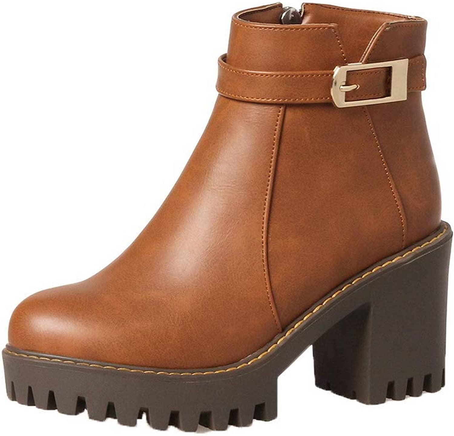 WeiPoot Women's Closed-Toe High-Heels Pu Low-Top Solid Boots, EGHXH109351