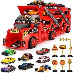 Idea Regalo - Aoskie Camion Macchinine Giocattolo per Bambini, Camion Bisarca con 8 Mini Cars Macchinine Giocattolo Regali per Bambini 3 4 5 Anni