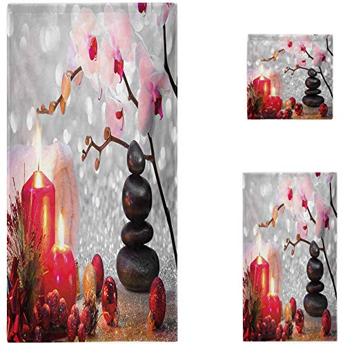 Nomorer Spa 3 Piece Towel Set, Winter Christmas Themed with Pink Orchid Stone and Red Candles Image Custom Towel Sets, Red Pink Black and White