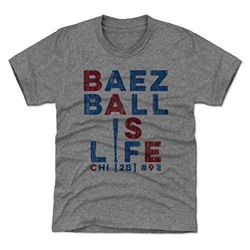 500 LEVEL Javier Baez Chicago Youth Shirt (Kids Shirt, X-Large (14-16Y), Tri Gray) - Javier Baez Life B