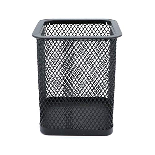Metal Mesh Pencil Organizer,Space-Saving Storage Container Black Pencil Holder Desk Organize for Home School Office Supplies -Square