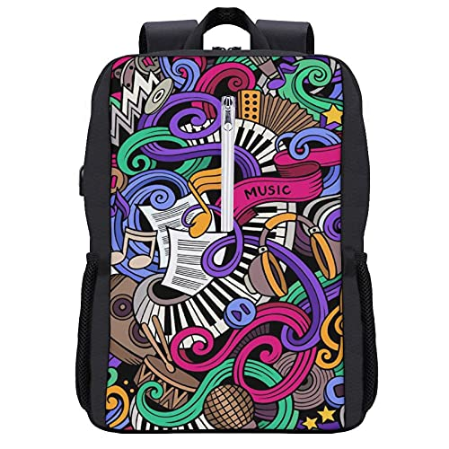 Travel Laptop Backpack,Music Themed Hand Drawn Abstract Instruments Microphone Drums Keyboard Stradivarius,Business Anti Theft Computer Bag Slim Durable with USB Charging Port