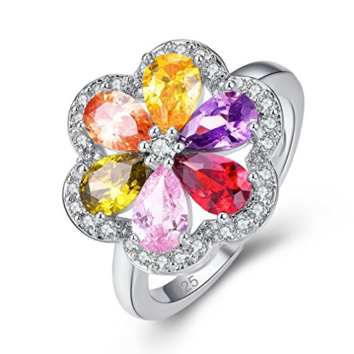 YAZILIND Colourful Flower Cubic Zirconia Ring Rhinestone Platinum Plated Engagement for Women Size N