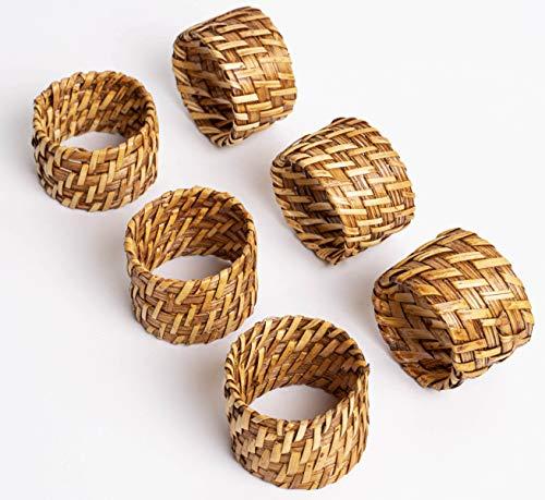 ESPO Lot de 6 ronds de serviette en bambou comme décoration de table pour la table à manger pour serviettes en tissu argenté et doré ou pour serviettes en tissu sur un ensemble de table en bois.