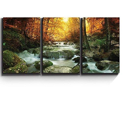 wall26 - Forest Waterfall Scene - Canvas Art Wall Art - 24\u0026quot; x 36\u0026quot; x3 Panels