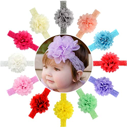 Product Image of the 12pcs Baby Girls Headbands Chiffon Flower Lace Band Hair Accessories for...