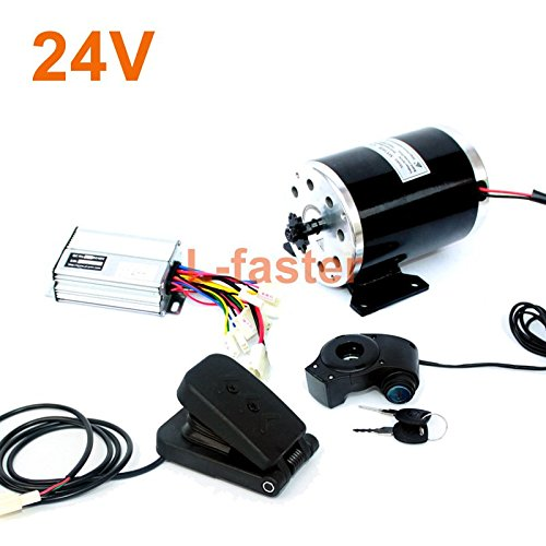 L-faster 24V36V48V 500W Electric High Speed Engine MY1020 Brushed Motor with Foot Electric Bike Replacement Motor Use 25H Or T8F Chain (24V Pedal kit)
