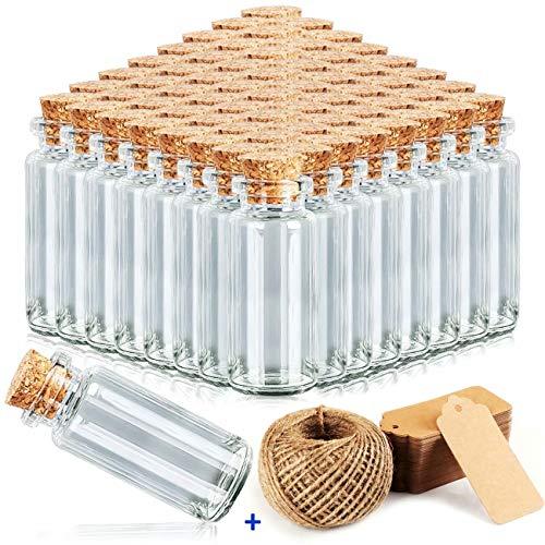 beihuazi® Frascos Pequeños 40Pcs Mini Botellas 10ml Bote Cristal Pequeño con Tapones de Corcho para Bodas, joyería, Regalos para Invitados