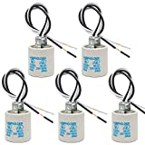E26 Socket, Ceramic Standard Medium Screw Socket, E26 E27 Bulb Lamp Holder, E26 Light Socket with 12 inch Wire Lead for Halogen Incandescent LED Light Bulb (5 Pack)