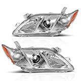 DWVO Headlight Assembly Compatible with 2007 2008 2009 Toyota Camry Exclude Hybird Chrome Housing Headlamp with Amber Reflector Clear Lens (Driver and Passenger Side)