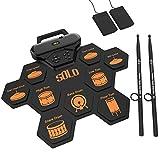 Juego de batería electrónica, almohadilla de práctica de batería enrollable recargable Construido en altavoces duales 3W / auriculares/pedales de batería/baquetas/regalo de cumpleaños para niños