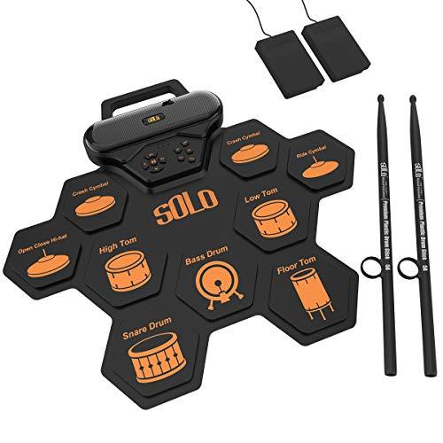 Juego de batería electrónica, almohadilla de práctica de batería enrollable recargable Construido en altavoces duales 3W   pedales de batería baquetas regalo de cumpleaños para niños