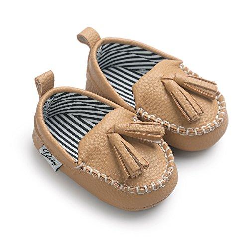 Meckior Newborn Infant Baby Girls Boys Tassels Soft Sole Penny Loafers Shoes Prewalker Moccasin (0-6 Months Infant, Khaki1)