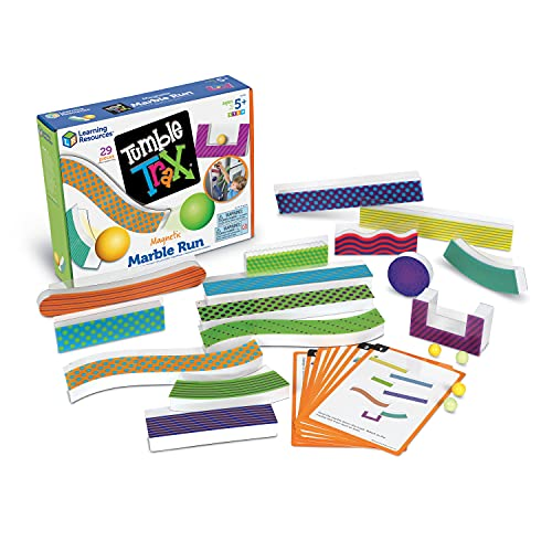 Learning Resources Tumble Trax Magnetic Marble Run, STEM Toy, 28 Piece Set, Ages 5+,Multi-color,5