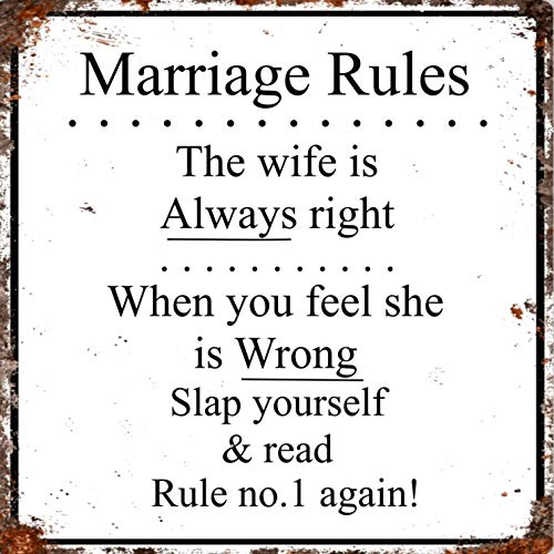 Vintage Advertising Wall Tin Plaque Large Square 20x20cm Pub Shed Bar Man Cave Home Bedroom Office Kitchen Gift Metal Sign - Warning Marriage Rules Wife Always Right Fun Rules