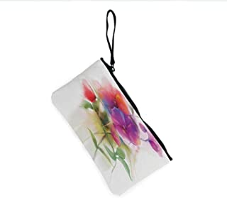 Canvas Coin Purse Zipper Coin Holder Mini Wallet Bags Cosmetic Makeup Bags,Blooming Orchid Spring Bouquet Romance Natural