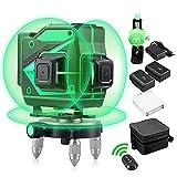 HUTACT Nivel Laser 3D Nivel Laser Verde Autonivelante 3x360 Rotativo Nivel Laser Cruzado 12 Líneas con Herramienta Nveladora de Líneas Verticales y Horizontales para Interiores y Exteriores