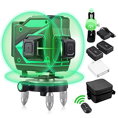 Nivel láser, 12 líneas 3D de haz verde Líneas láser 3 x 360 Niveles láser verde autonivelantes con herramienta de nivelación vertical y horizontal de líneas al aire libre