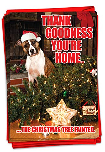 NobleWorks - Box of 12 Dog Christmas Cards Funny - Fun Adorable Pet Dogs, Animal Holiday Greetings with Envelopes (1 Design, 12 Cards) - Christmas Tree Fainted B1144