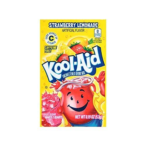 Kool-Aid Strawberry Lemonade Unsweetened Drink Mix, 0.19 oz, Pack of 48 Envelopes
