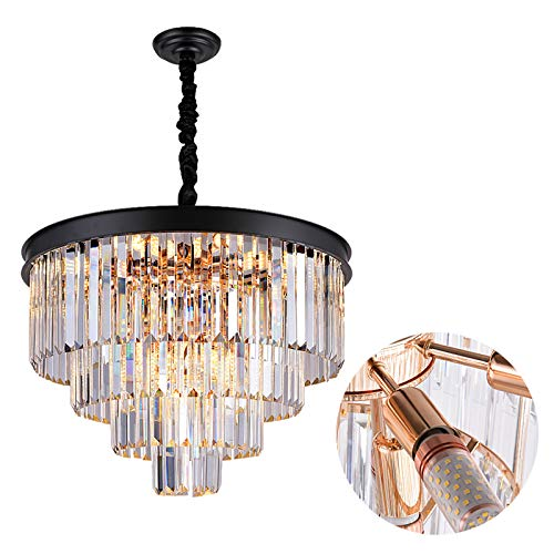A AXILIXI 12-Light Modern Crystal Chandeliers, 24' Round Top K9 Crystals Chandelier, Adjustable Ceiling Lighting Fixture, Modern 4-Tier K9 Crystal Pendant Lamp for Dinning Rooms Living Room