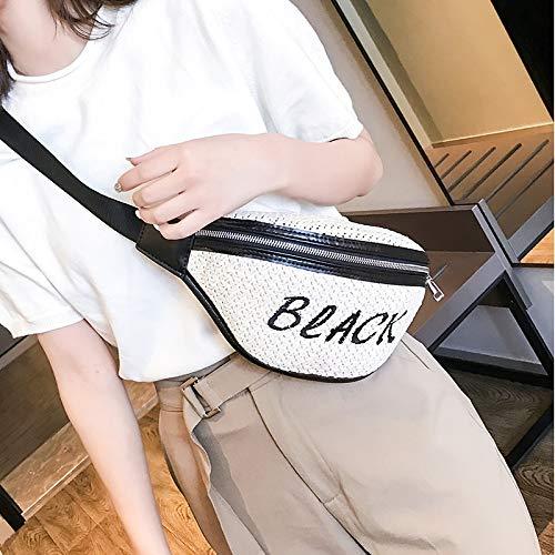 Moda Weaving Paja Color Carta de la PU Solo Bolso de la Cremallera del Bolso del Mensajero de la Cintura Deportes Bolsillos en el Pecho Bolsa (Negro), la Moda Weaving LiMinHua (Color : Black)