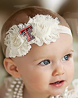 Future Tailgater Texas Tech Red Raiders Baby/Toddler Shabby Flower Hair Bow Headband (6-12 Months/ 14