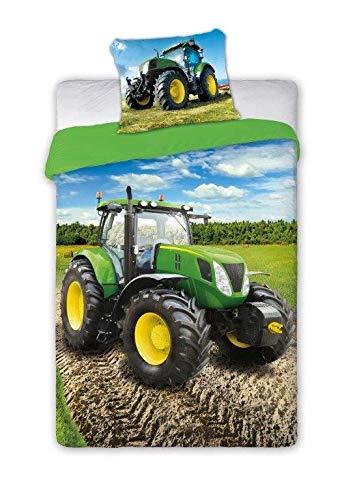 SaYes Bettwäsche mit grüner Traktor, 100% Baumwolle, 140 x 200 cm, 70 x 90 cm