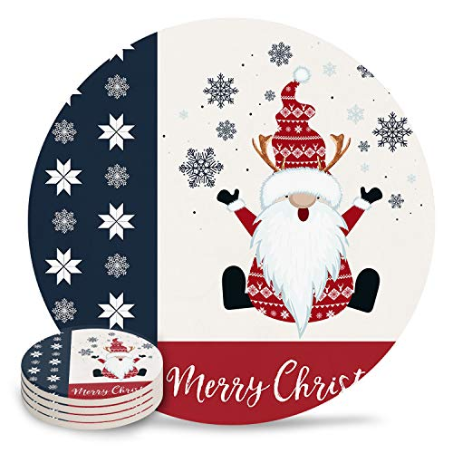 4-Piece Set Ceramic Coasters for Drinks,Christmas Gnome Snowflakes Merry Christmas Unique Absorbent Round Ceramics Cork Backed Cup Mat for Home/Housewarming Gift