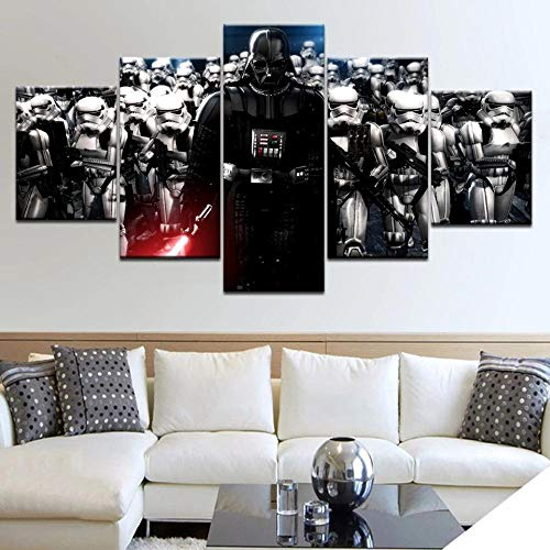 QZWXEC 5 Large Board HD Printed Canvas Painting Room Decoration Movie Poster Home Decoration Wall Art Image for Living Room
