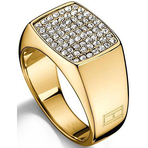 Tommy Hilfiger Damen - Ring 333 Gelbgold Emaille Ringgröße verstellbar - 2700733B