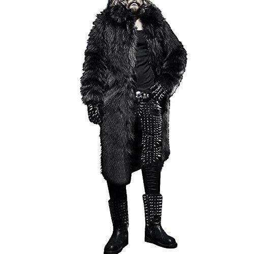 Celucke Pelzmantel Herren Lang Kunst Felljacke Pelzkragen,Felljacke Wind Coat Winterjacke Faux Pelz Fur