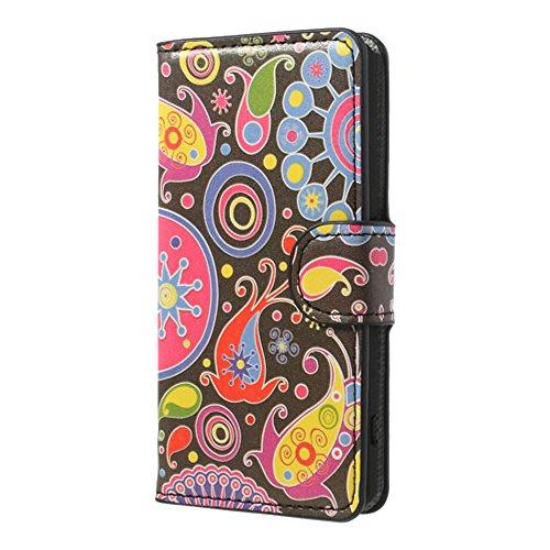 JUJEO gekleurde patroon portemonnee lederen standaard hoesje voor Sony Xperia Z1 Compact D5503