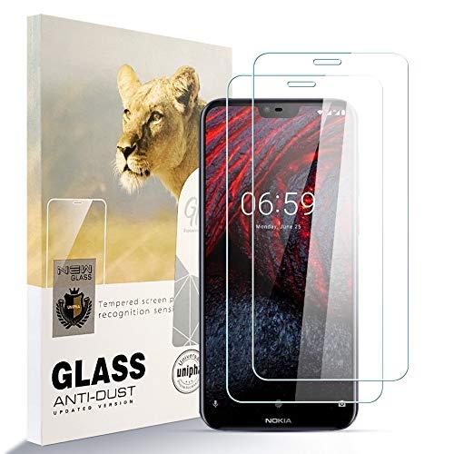 zidwzidwei Displayschutzfolie Panzerglas für Nokia 6.1 plus [2er Pack] HD-Hartglasfolie Anti-Fingerabdruck Blasenfrei Leicht zu Installieren , 9H Härte Glasschutzfolie Schutzfolie fürNokia 6.1 plus