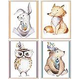 CRUNY Quadri per Camera Bambini con Immagini di Animali - Set di 4 Poster Animali della Foresta - Decorazioni Cameretta Bambino e Bambina - Poster Cameretta Bambini di Alta qualità, Formato DIN A4