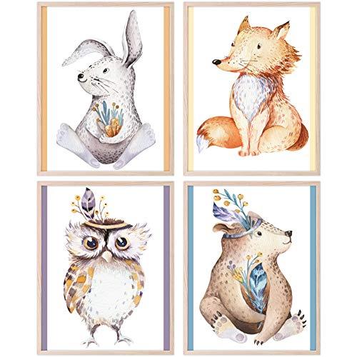 CRUNY Bilder für Kinderzimmer - Kinderzimmer Bilder, Bilder Babyzimmer Deko, Wandbilder Kinderzimmer, Poster Kinderzimmer, Bilder Kinderzimmer Deko für Mädchen und Jungen - 4er Set Waldtiere in A4
